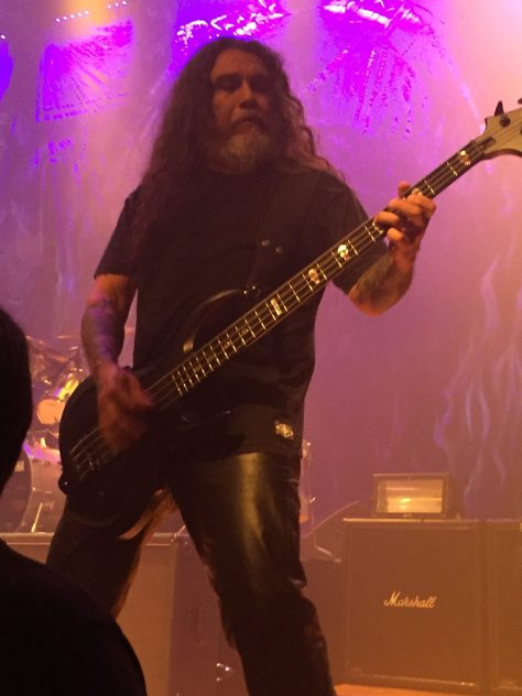 Legendary vocalist/bassist and fatherly badass, Tom Araya, kicking ass at Slayer's special Comic Con takeover show.