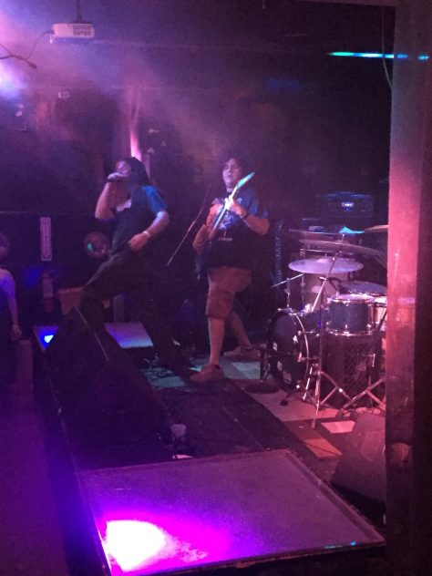 Local extreme death metal band, Orphic Eye warm up the crowd at The Merrow.
