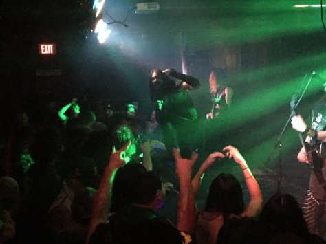 Goatwhore brings some NOLA magick to The Merrow.  (Pictured left to right: Vocalist Ben Falgoust, bassist James Harvey, and half of guitarist/vocals Sammy Duet... Sorry Sammy)