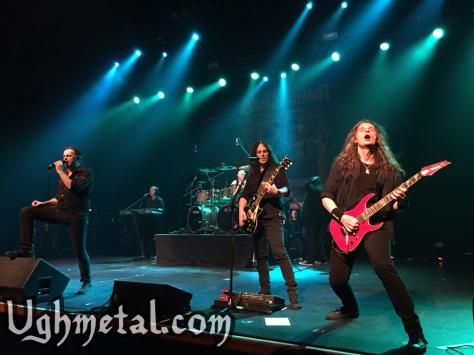 Blind Guardian return to our sunny shire after a decade.  (Pictured from left to right: vocalist Hansi Kürsch, keyboardist Michael Schüren, rhythm guitarist Marcus Siepen, drummer Frederik Ehmke and lead guitarist André Olbrich)