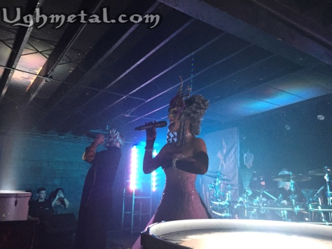 Mushroomhead vocalist Jeffrey Hatrix is joined onstage for a second time by front woman of Unsaid Fate, Jackie LaPonza.
