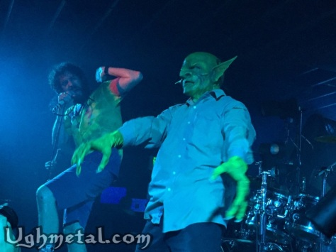 Vocalist of Nekrogoblikon, Scorpion, is stunned with their mascot John Goblikon
