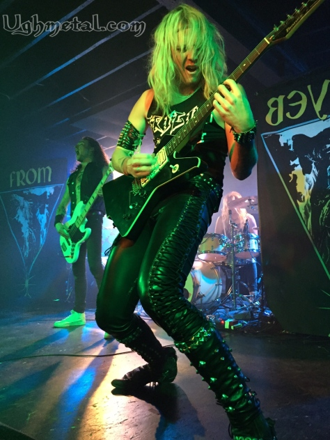 Vocalist/guitarist of Enforcer, Olof Wikstrand, showing off his riffs and all that leather while bassist Tobias Lindkvist let out a battle cry in approval.